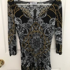 Black paisley print Jennifer Lopez top
